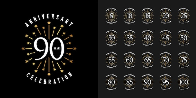 Firework anniversary celebration emblem set. Premium Vector