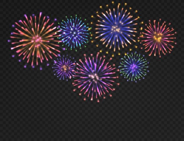 花火の背景。透明な背景に孤立したカーニバル敬礼。お祝いのクリスマス、新年 Premiumベクター