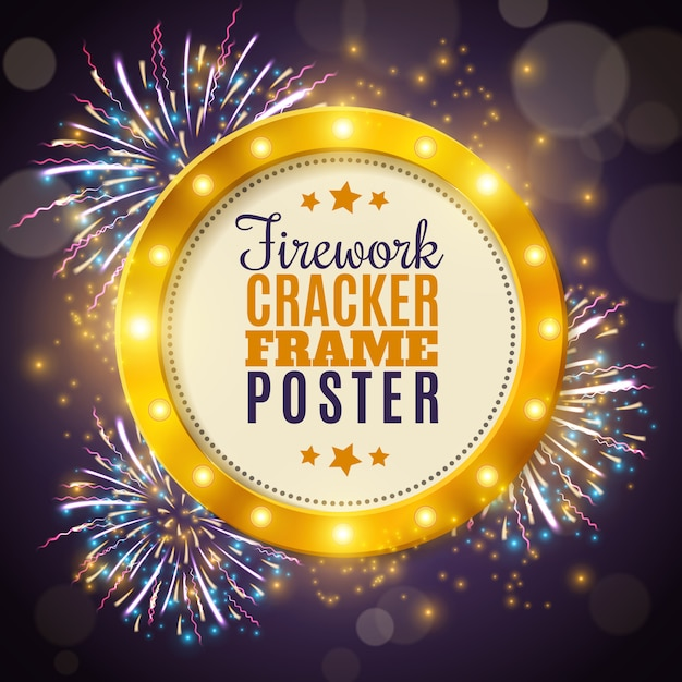 Firework cracker frame colorful background poster Free Vector