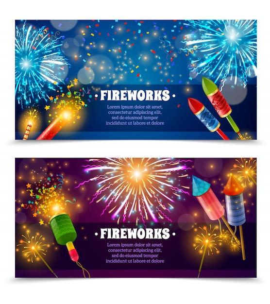 Firework crackers 2 festive banners set Free Vector