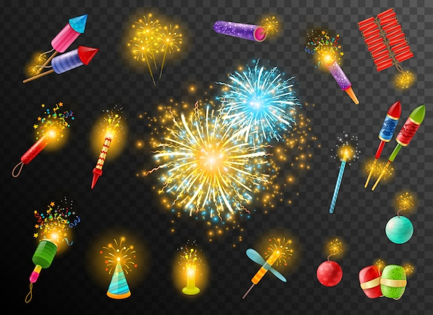 Firework crackers pyrotechnic dark background poster Free Vector