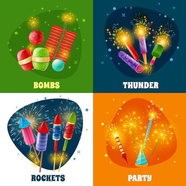 Firework crackers rockets  4 icons square Free Vector