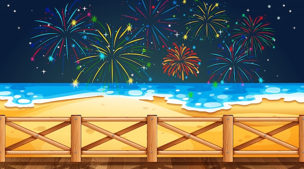 Firework on sky from beach view Premium Vector