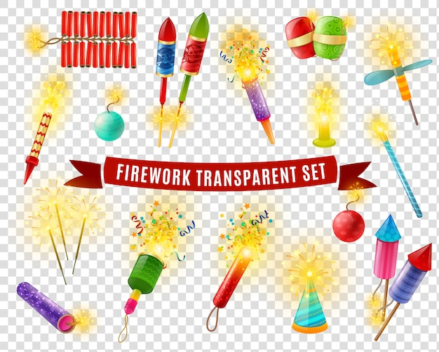 Firework sparlers firecrackers transparent background set Free Vector
