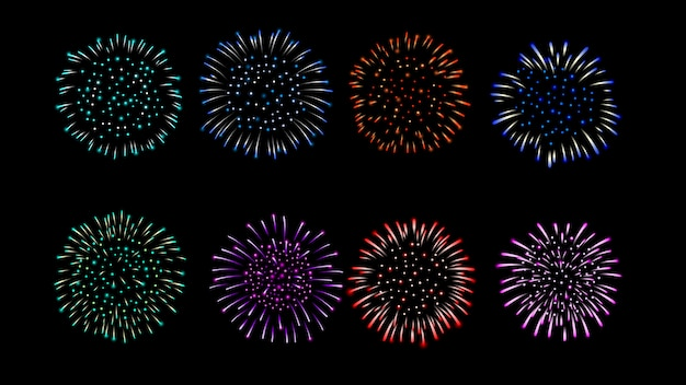 Firework vector multiple color collection. Premium Vector