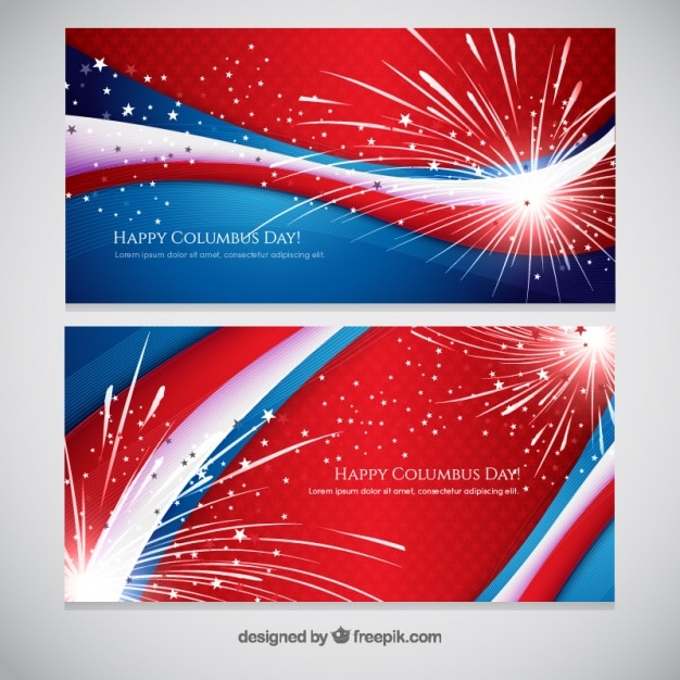 Fireworks abstract banners of columbus day Free Vector