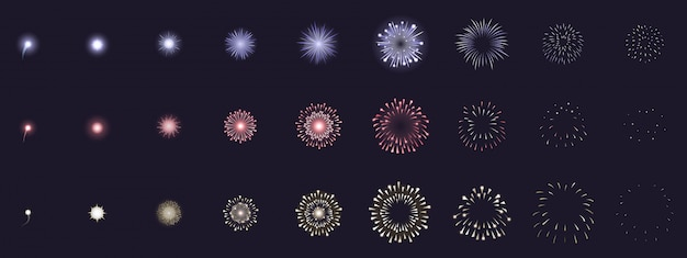 Fireworks animation. animated firework explosion frames, party firecracker explosion storyboards. fireworks explosions  illustration set. explosion sequence action, firework collection set Premium Vector
