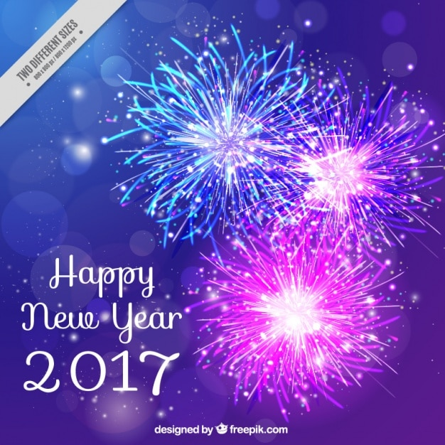 fireworks background of new year 2017 free vector