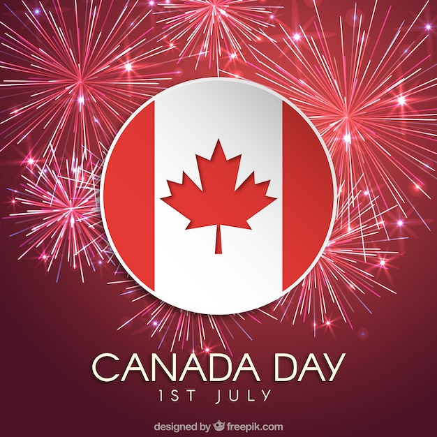 fireworks background with flag of canada vector free