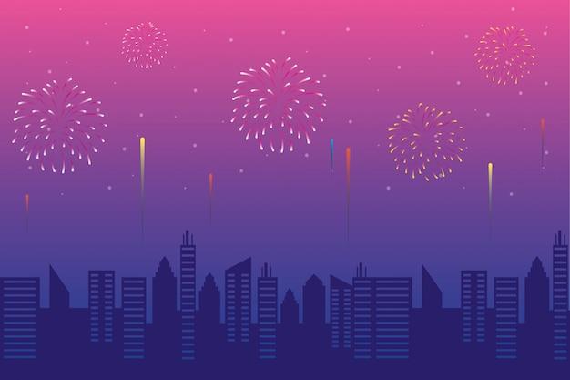 Фейерверк взрыв взрывов с городской пейзаж на фоне розового неба Premium векторы