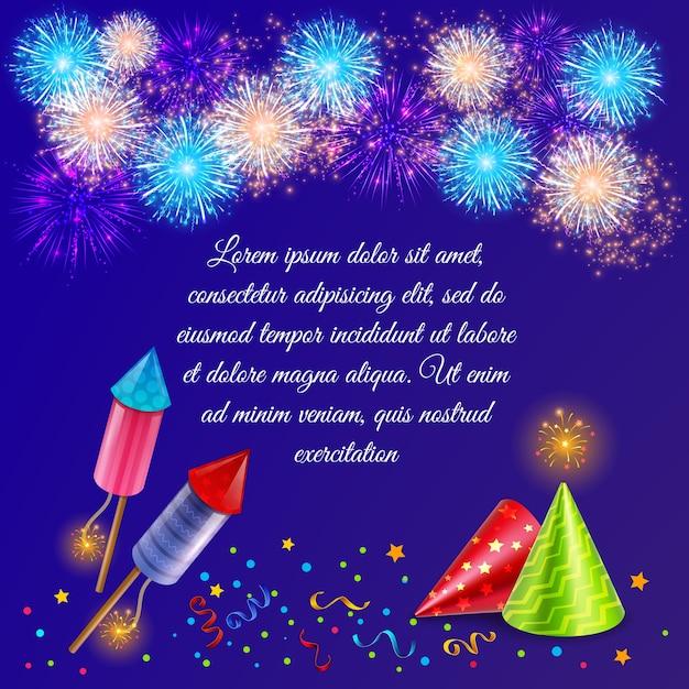 Composizione di fuochi d'artificio con immagini di fuochi d'artificio decorati di cappelli da festa di petardi e coriandoli con testo Vettore gratuito