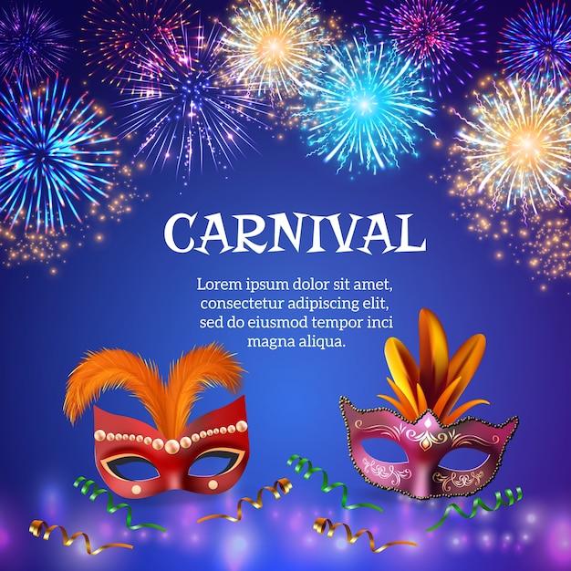 Композиция фейерверков с реалистичными изображениями карнавальных масок красочных форм фейерверков Бесплатные векторы