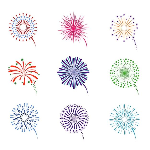 Fireworks display set Premium Vector