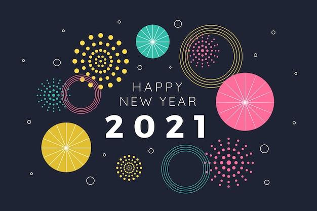 Фейерверк плоский дизайн с новым годом 2021 Бесплатные векторы