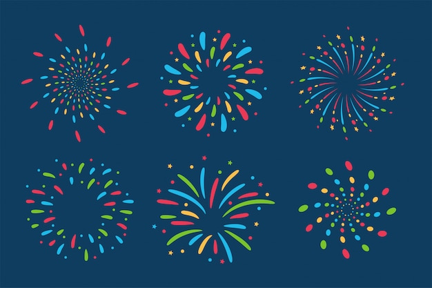 Fireworks floor collection. Premium Vector