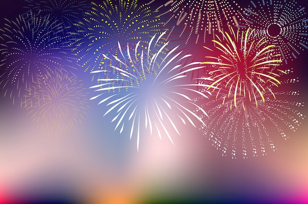 Fireworks and happy new year Premium Vector