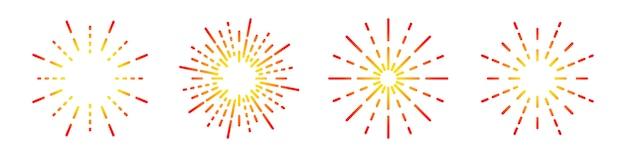 불꽃 놀이 선형 아이콘을 설정합니다. 둥근 햇살 기호. 삽화. 불꽃 놀이 플랫 아이콘 프리미엄 벡터