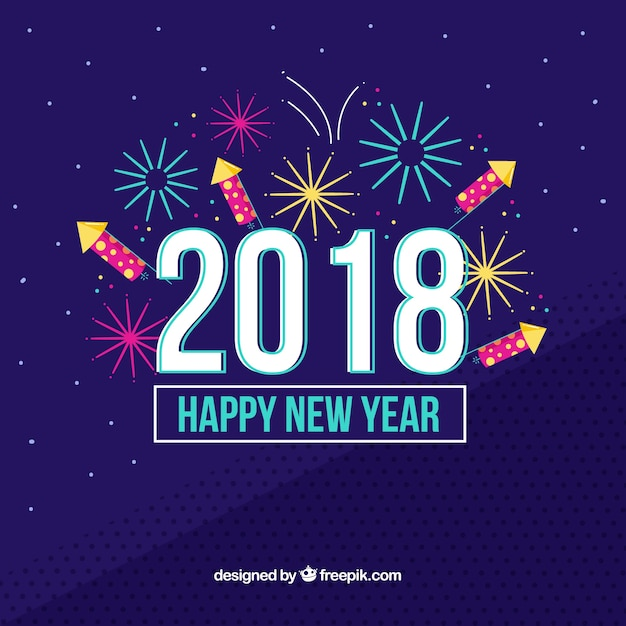 Fireworks new year 2018 background in dark blue Free Vector
