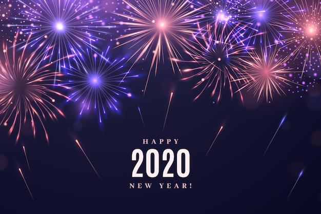 Fireworks new year 2020 background Free Vector