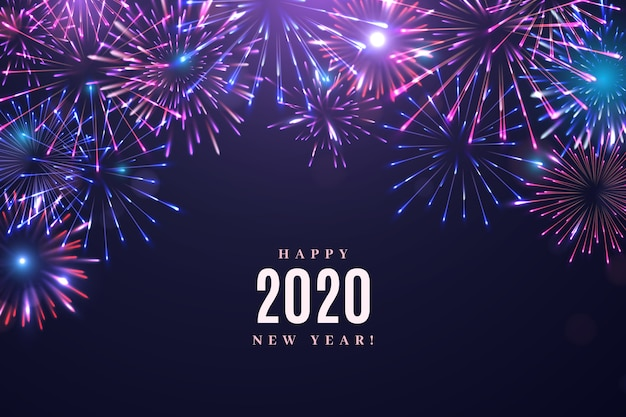 Free Vector Fireworks New Year 2020 Background