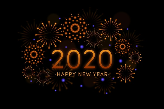 Fireworks new year 2020 wallpaper Free Vector