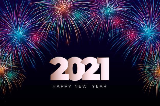 Fuochi d'artificio nuovo anno 2021 sfondo Vettore gratuito
