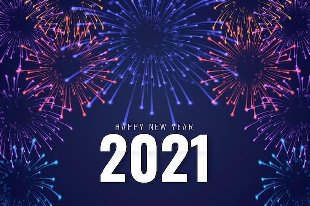 Fireworks new year 2021 Premium Vector