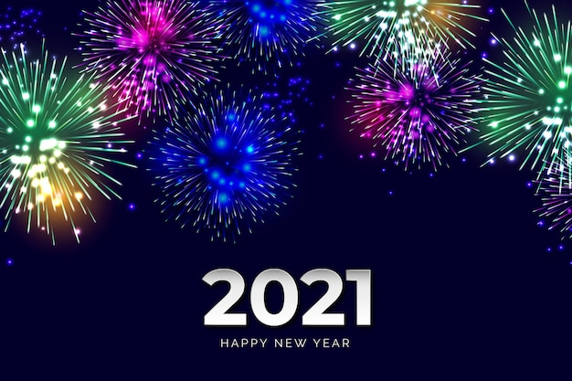 Fireworks new year 2021 Free Vector