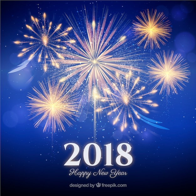 fireworks new year background 2018 free vector