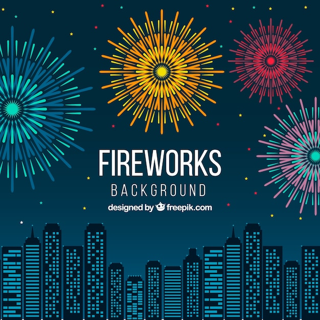 fireworks on city skyline background vector free download rh freepik com Shooting Fireworks Fireworks Clip Art