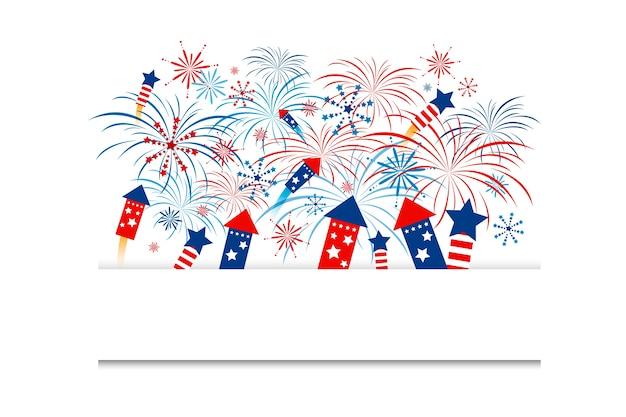 Fireworks on white background Vector | Premium Download