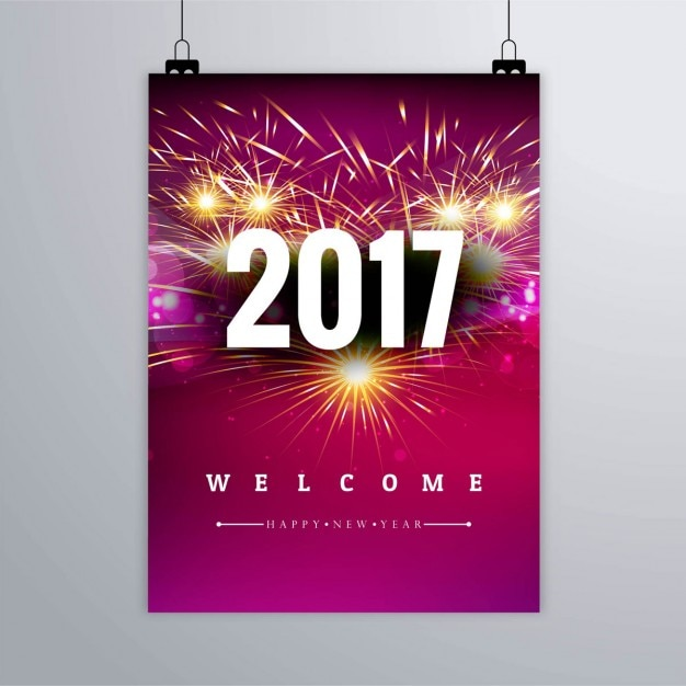 Fireworks poster of new year 2017 Vector | Free Download