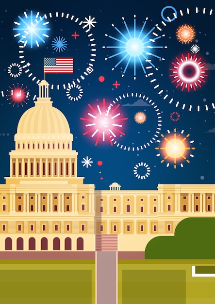 Fireworks above white house Premium Vector