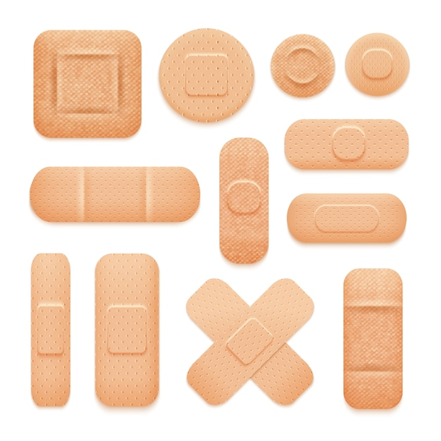 First aid adhesive patches set Free Vector