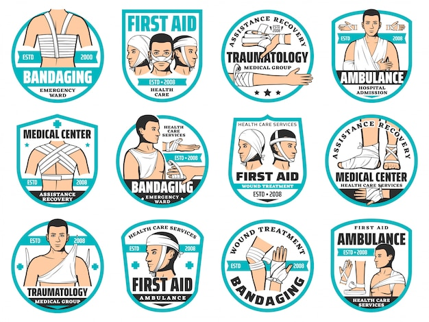 First aid, bandage, traumatology and emergency icons Premium Vector