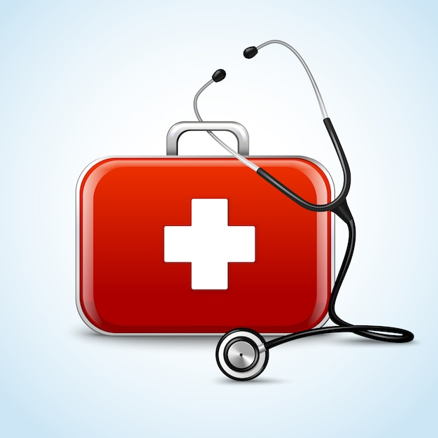First aid healthcare concept with medical box and