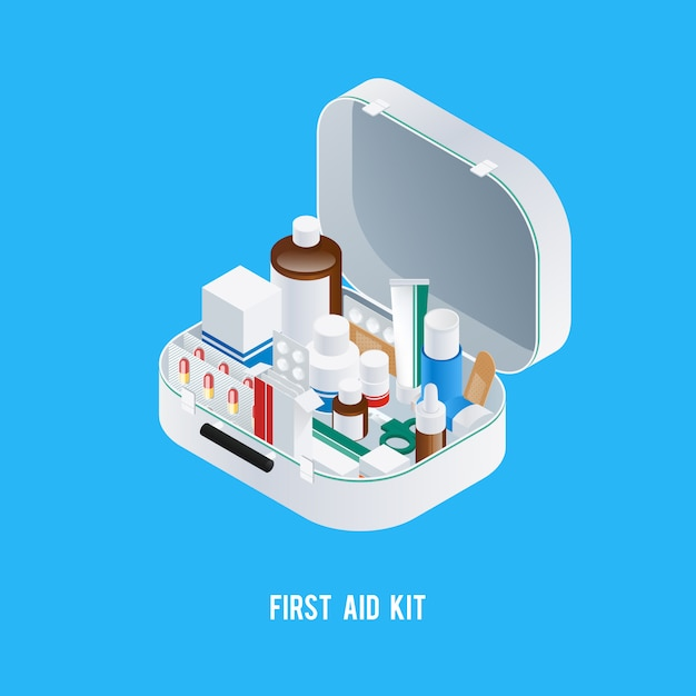 First aid kit background Free Vector