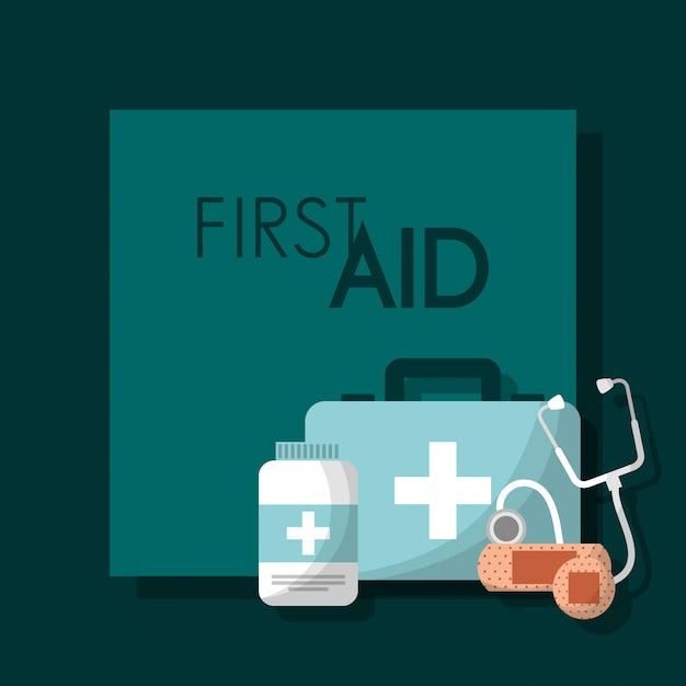 First aid kit medical health Premium Vector