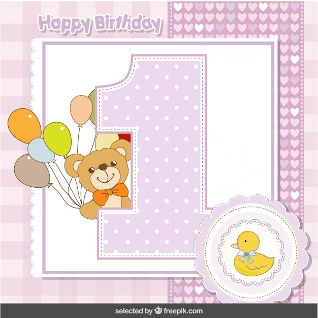 First anniversary card with teddy bear and duck Free Vector