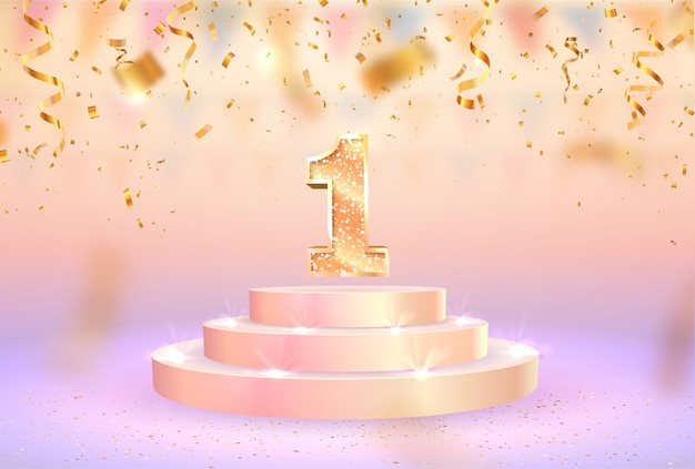 First anniversary celebration. number one on pedestal web banner. Premium Vector