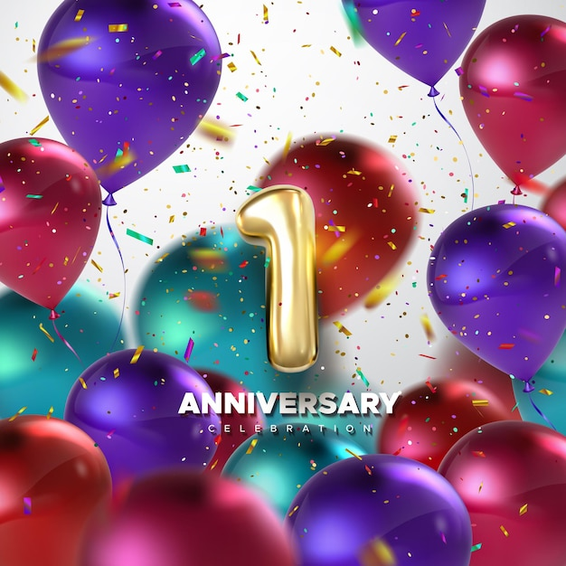 First anniversary celebration sign with golden number 1 and balloons Premium Vector