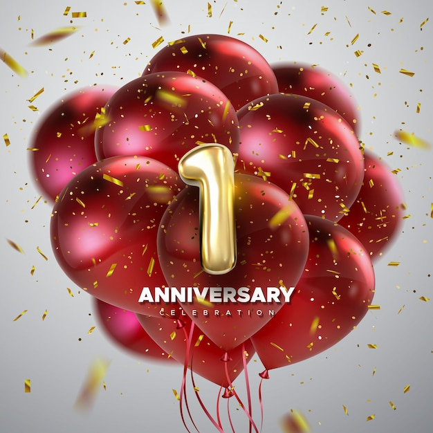 First anniversary celebration sign with golden number 1 and red balloons Premium Vector