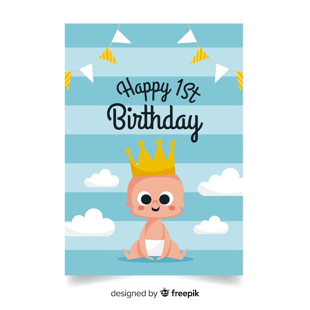 First birthday baby prince greeting Free Vector