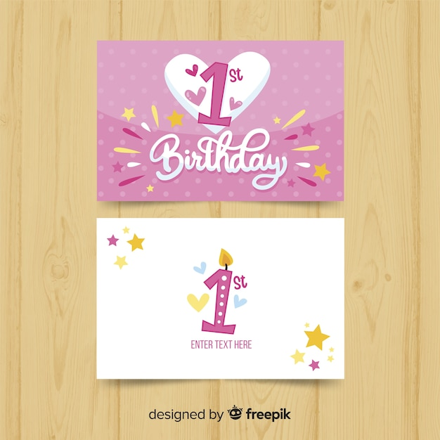 first birthday big heart card template vector free download