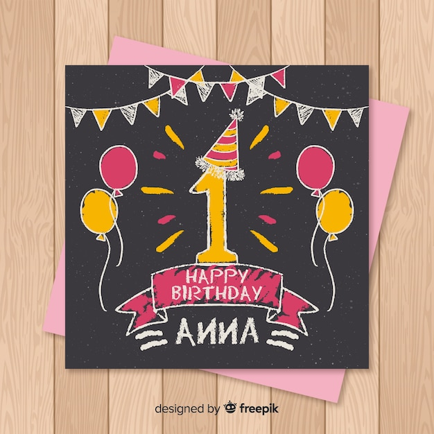 First birthday blackboard balloons card template Free Vector