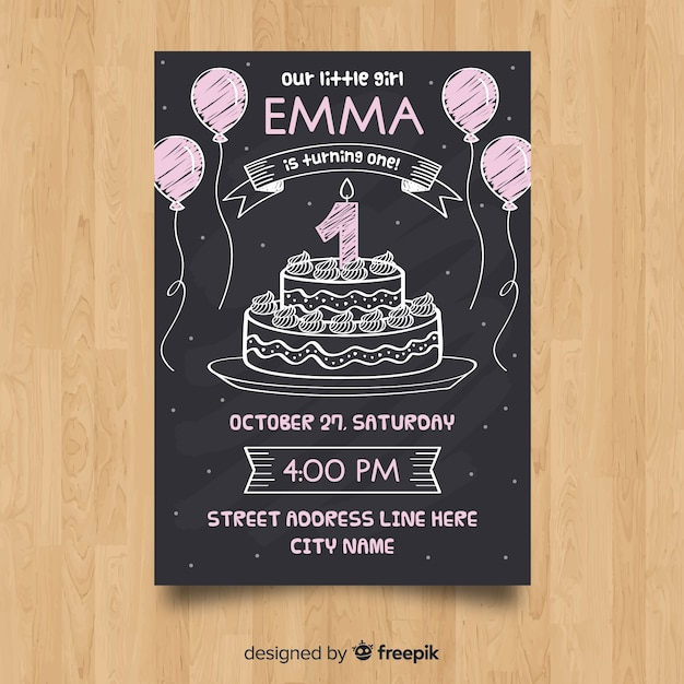 First Birthday Blackboard Cake Card Template Vector Free Download