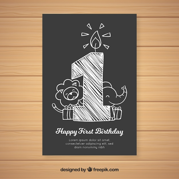 First birthday blackboard numbers card template Free Vector