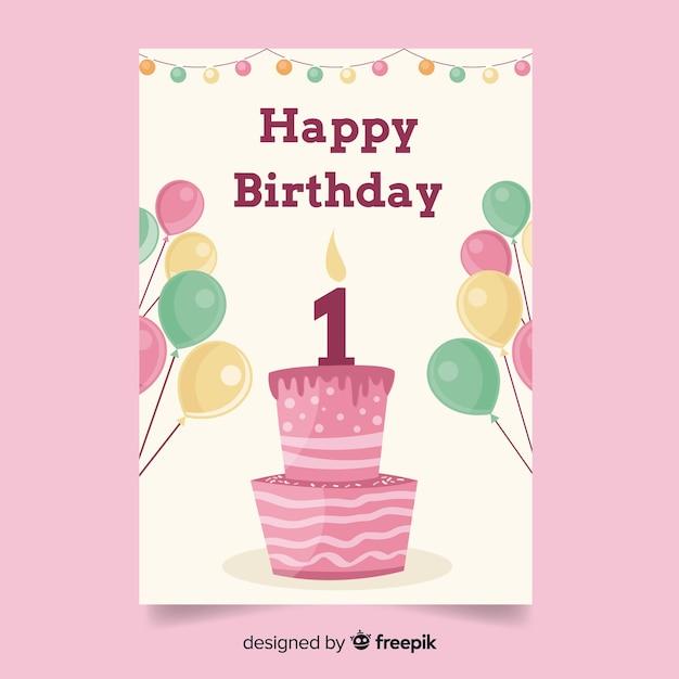 Outstanding First Birthday Cake Balloons Greeting Free Vector Funny Birthday Cards Online Amentibdeldamsfinfo