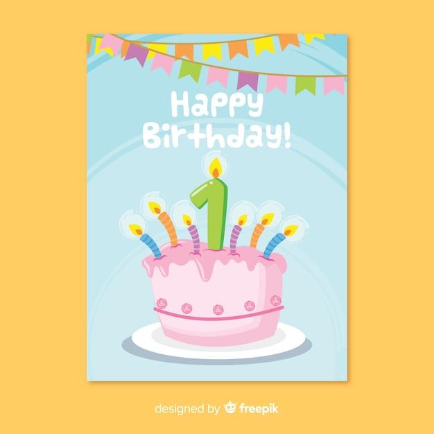 Awe Inspiring First Birthday Cake Greeting Free Vector Funny Birthday Cards Online Amentibdeldamsfinfo