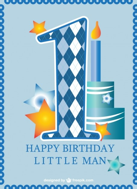 First Birthday Card Baby Boy Vector